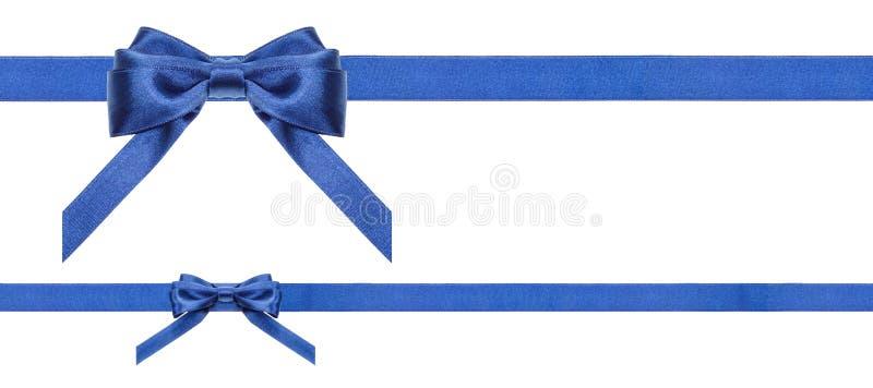 Archi blu e nastri del raso isolati - insieme 35 fotografie stock libere da diritti
