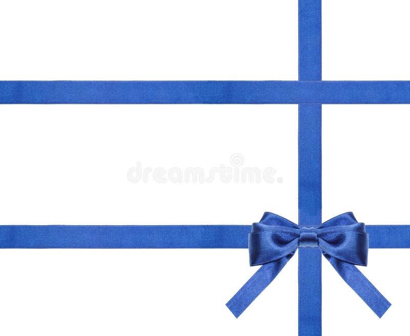 Archi blu e nastri del raso isolati - insieme 27 fotografie stock