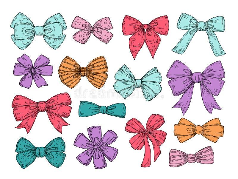 Archi di colore Gli scarabocchi disegnati a mano degli accessori dell'arco del legame di modo di schizzo hanno legato i nastri Re illustrazione di stock