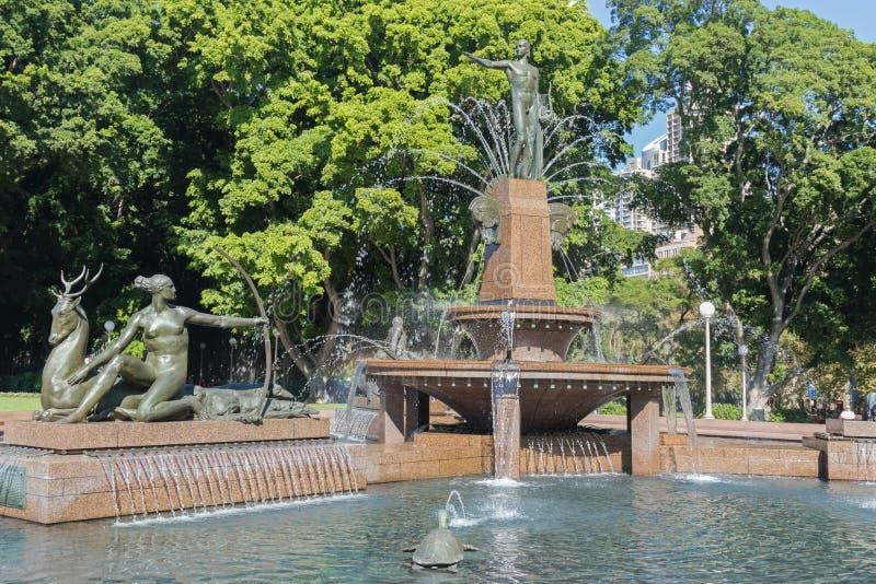 Archibald Memorial Fountain i Hyde Park North, Sydney, Aust royaltyfri bild