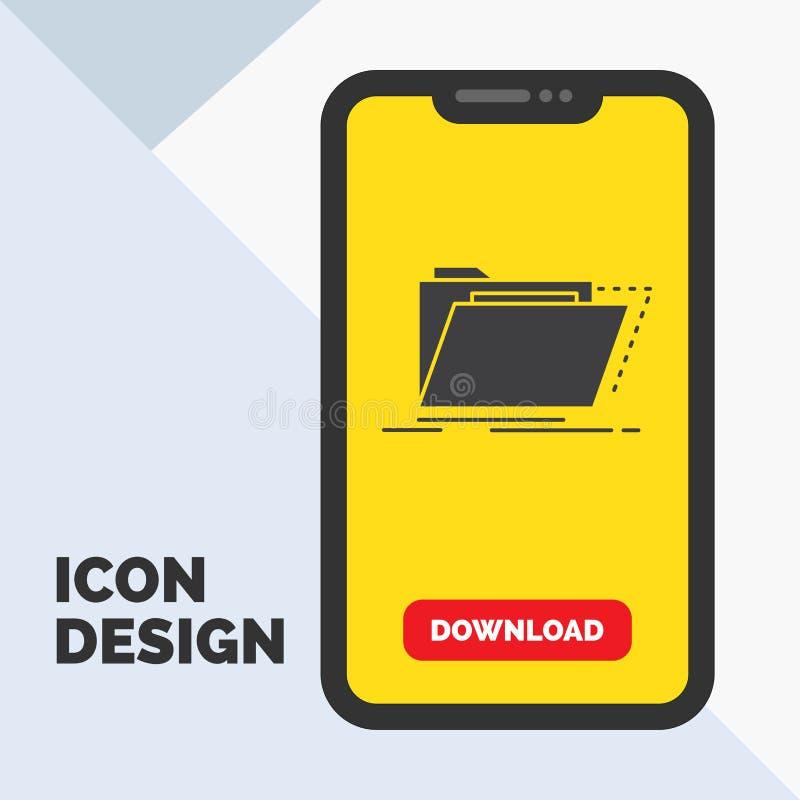 Archief, catalogus, folder, dossiers, het Pictogram van omslagglyph in Mobiel voor Downloadpagina Gele achtergrond royalty-vrije illustratie