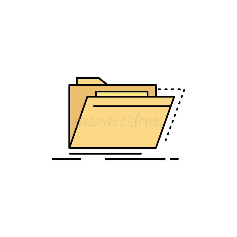Archief, catalogus, folder, dossiers, het Pictogramvector van de omslag Vlakke Kleur stock illustratie