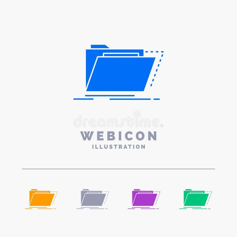 Archief, catalogus, folder, dossiers, omslag 5 het Malplaatje van het het Webpictogram van Kleurenglyph op wit wordt geïsoleerd d royalty-vrije illustratie