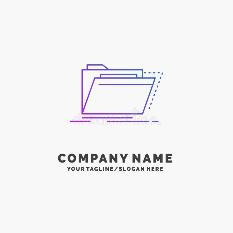 Archief, catalogus, folder, dossiers, omslag Purpere Zaken Logo Template Plaats voor Tagline vector illustratie