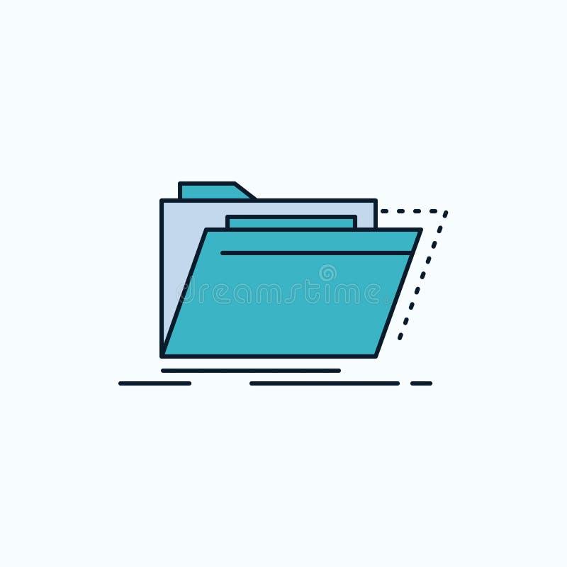 Archief, catalogus, folder, dossiers, omslag Vlak Pictogram groene en Gele teken en symbolen voor website en Mobiele appliation V stock illustratie