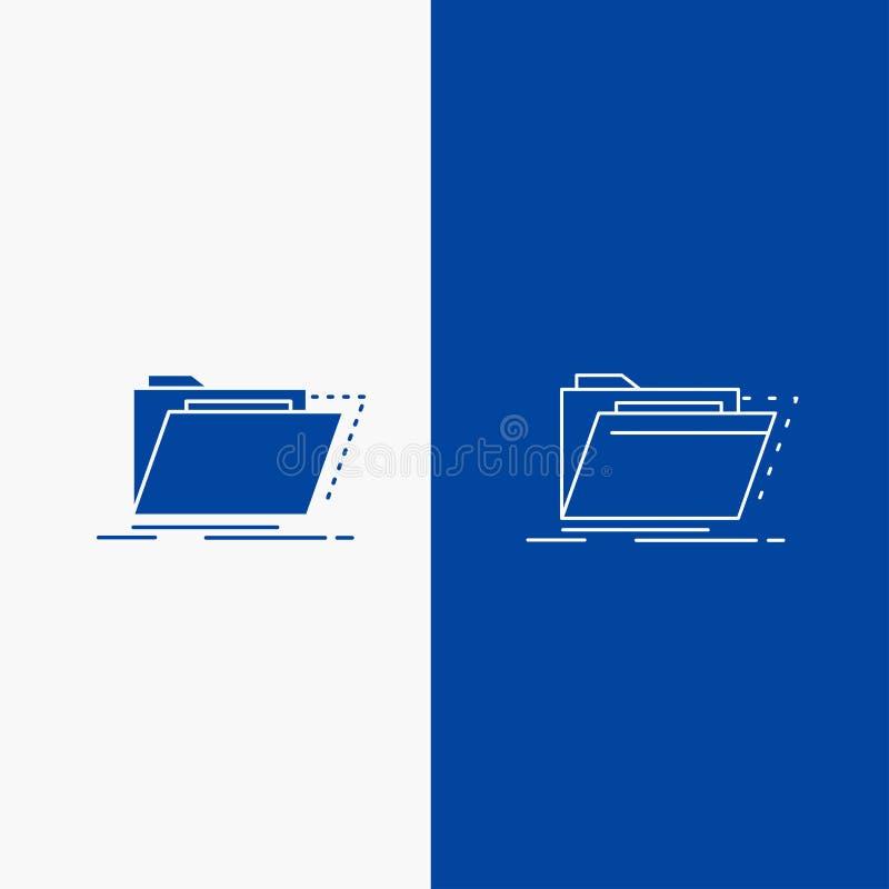 Archief, catalogus, folder, dossiers, omslaglijn en Glyph-Webknoop in Blauwe kleuren Verticale Banner voor UI en UX, website of royalty-vrije illustratie