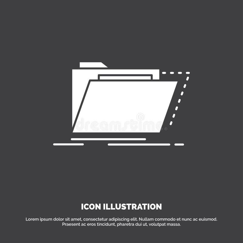 Archief, catalogus, folder, dossiers, omslagpictogram glyph vectorsymbool voor UI en UX, website of mobiele toepassing vector illustratie