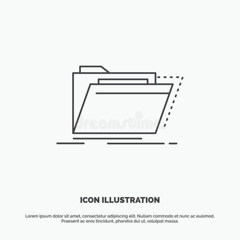 Archief, catalogus, folder, dossiers, omslagpictogram Lijn vector grijs symbool voor UI en UX, website of mobiele toepassing vector illustratie