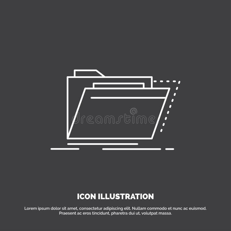 Archief, catalogus, folder, dossiers, omslagpictogram Lijn vectorsymbool voor UI en UX, website of mobiele toepassing vector illustratie