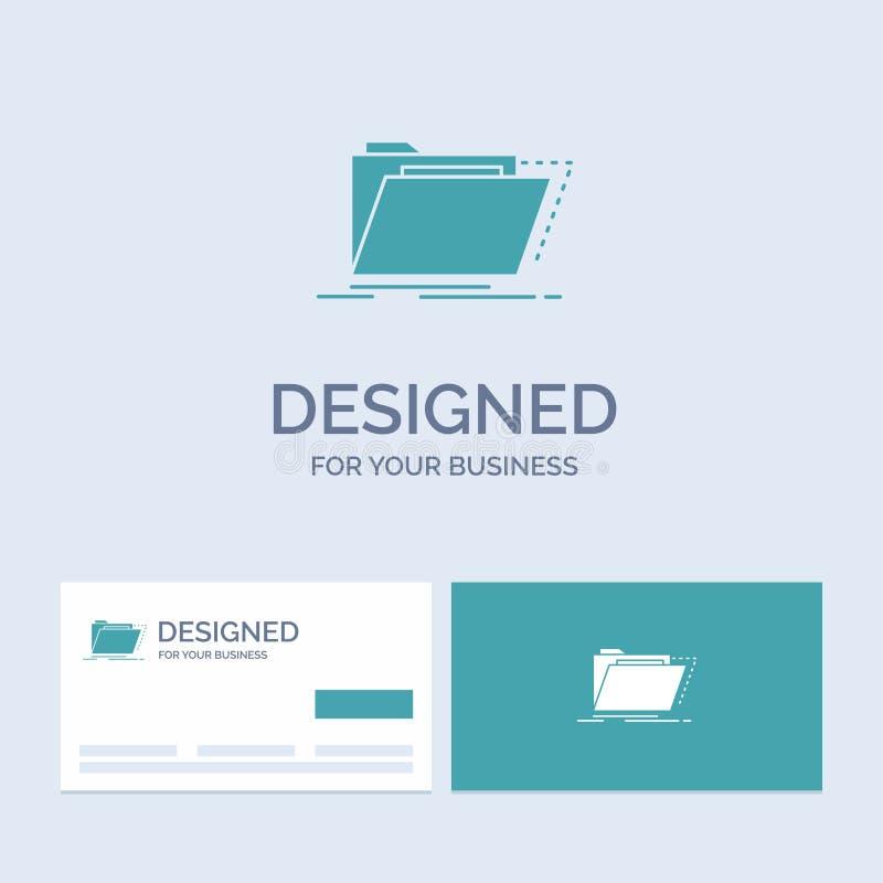 Archief, catalogus, folder, dossiers, omslagzaken Logo Glyph Icon Symbol voor uw zaken Turkooise Visitekaartjes met Merk vector illustratie