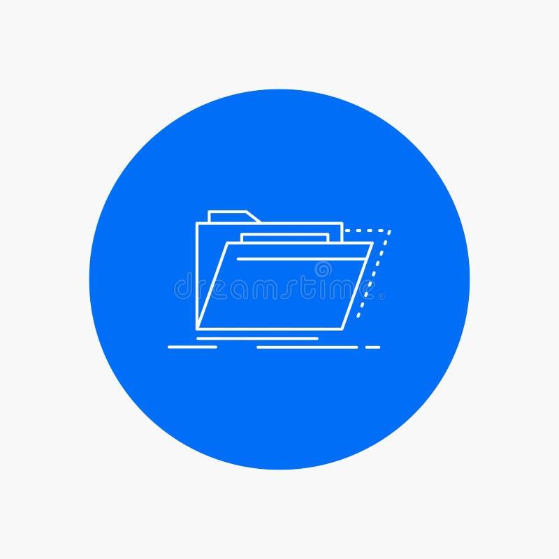 Archief, catalogus, folder, dossiers, Pictogram van de omslag het Witte Lijn op Cirkelachtergrond Vectorpictogramillustratie royalty-vrije illustratie