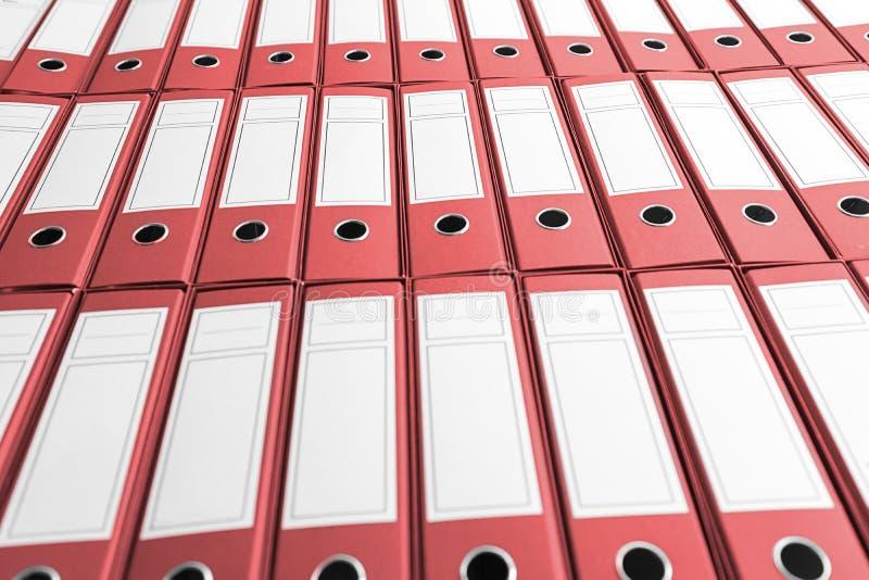 Archief met vele bindmiddelen op plank stock afbeeldingen
