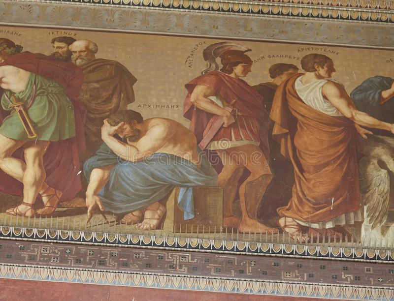 Archimedes and Aristotle paint fresco at Athens Greece royalty free stock images