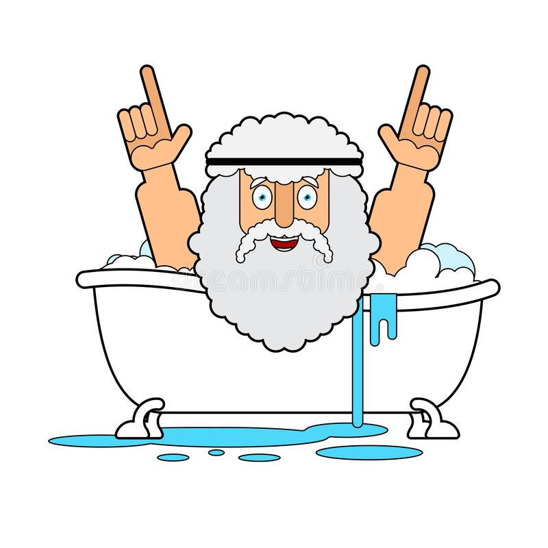 Archimedes in bath. Thumbs up eureka. ancient greek mathematician, physicist. Great discovery royalty free illustration