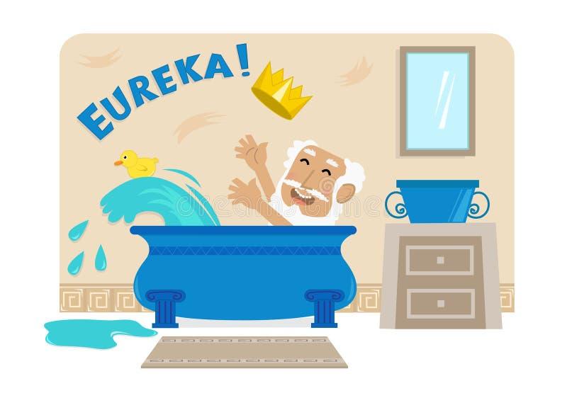 Archimedes In Bathtub stock illustrationer