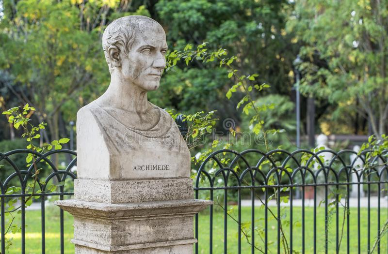 Archimedes bust. In the park at Pincian hill. Rome, Italy royalty free stock photos