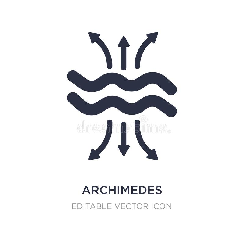 archimedes principle icon on white background. Simple element illustration from Education concept royalty free illustration