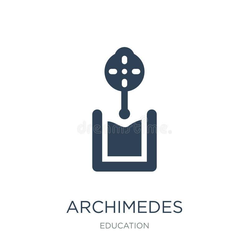 Archimedes-Prinzipikone in der modischen Entwurfsart Archimedes-Prinzipikone lokalisiert auf weißem Hintergrund Der Auftrieb, der vektor abbildung