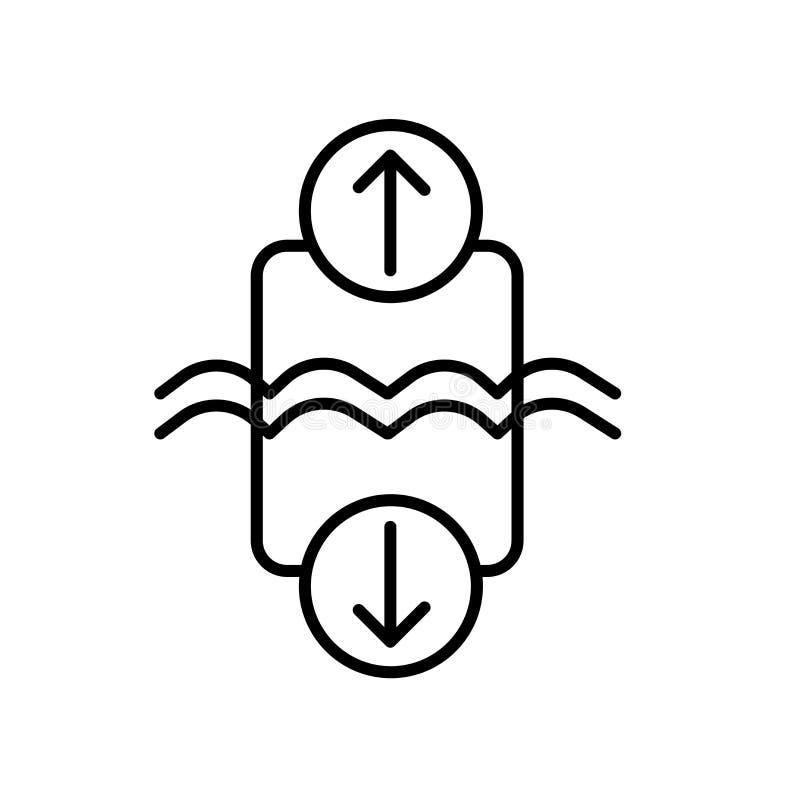 Archimedes-Prinzipikonenvektor lokalisiert auf weißem Hintergrund-, Archimedes-Prinzipzeichen, Zeichen und Symbolen im dünnen lin lizenzfreie abbildung