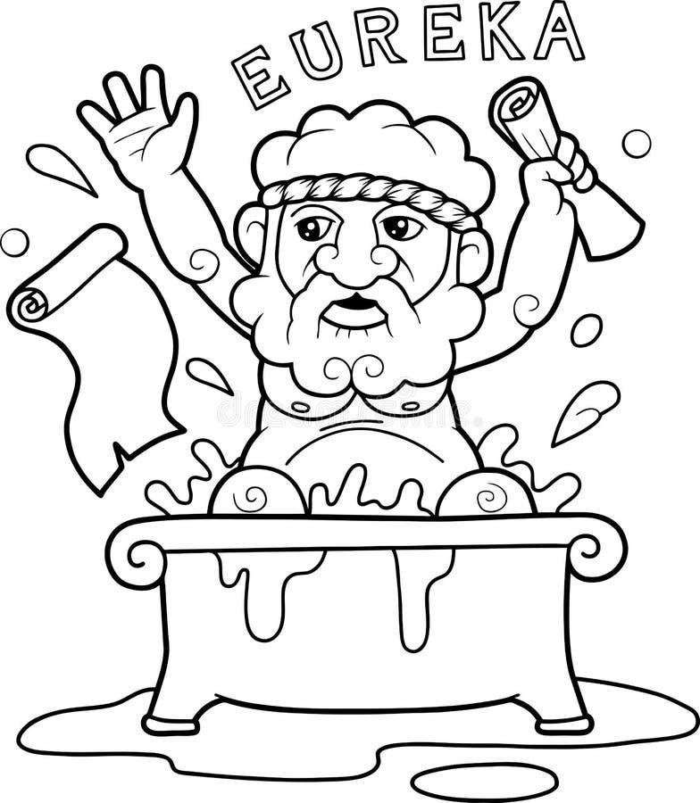 Archimedes sammanträde i badet vektor illustrationer