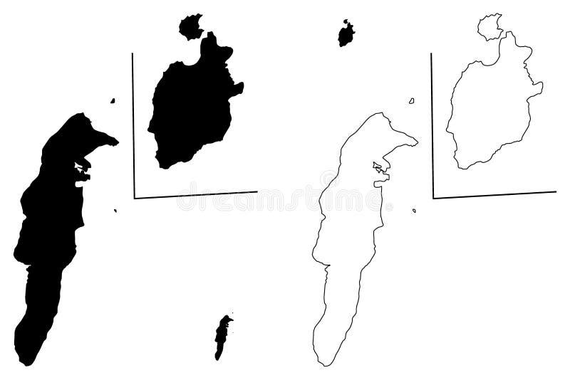Archipiélago vector del mapa de San Andres, de Providencia y de Santa Catalina ilustración del vector