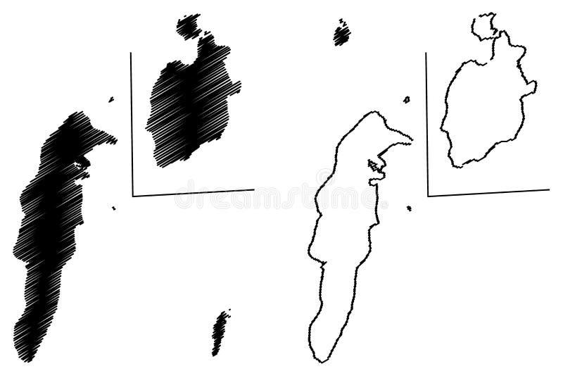 Archipi?lago vector del mapa de San Andres, de Providencia y de Santa Catalina ilustración del vector