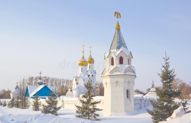 Archistrategos Mikhail kyrka i Novosibirsk arkivbild