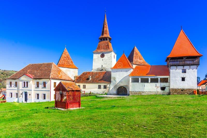 Archita, Румыния - средневековая церковь-крепость в Трансильвании стоковые фотографии rf
