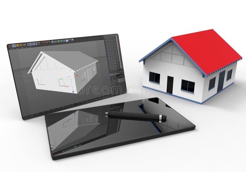 Architech que trabaja en una tableta - concepto del cad stock de ilustración