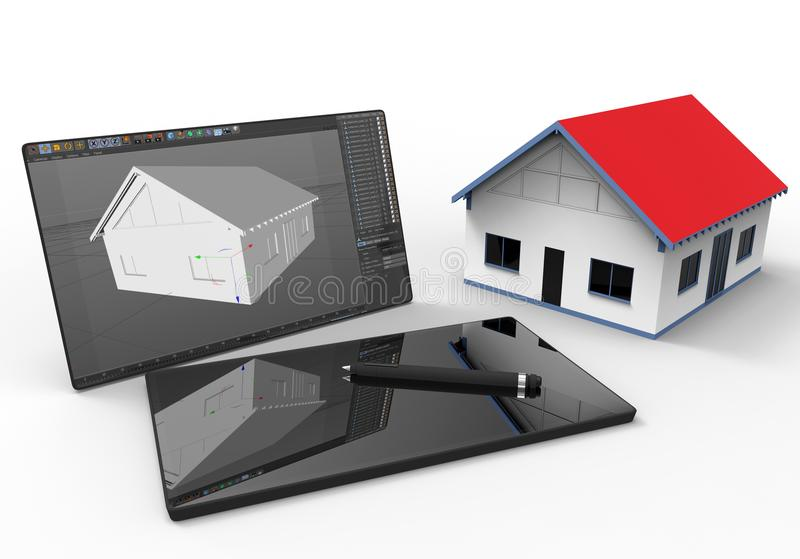 Architech working on a tablet - CAD concept stock illustration