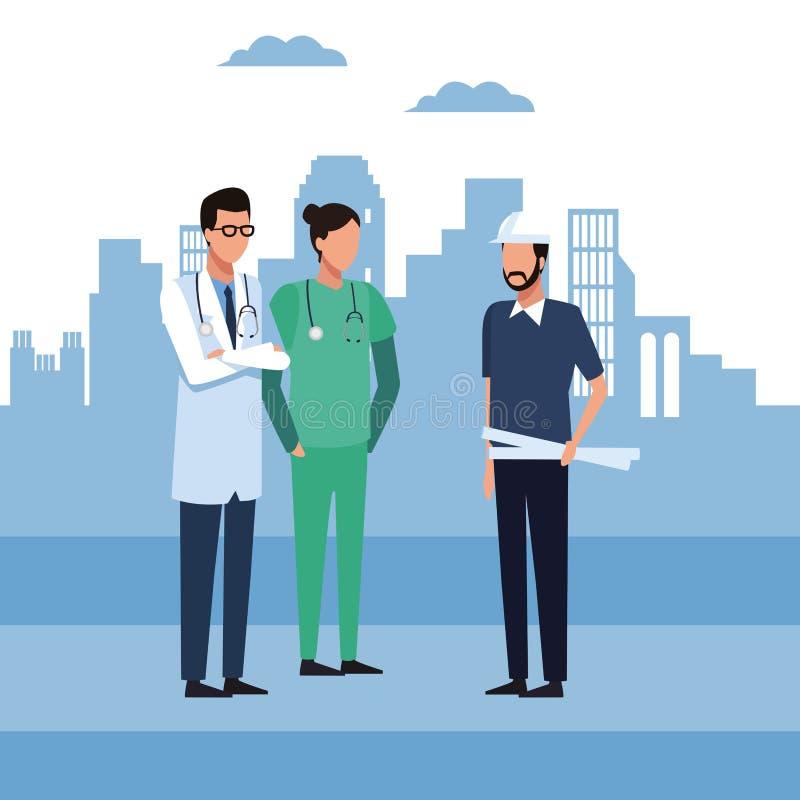 Architecs et travailleurs illustration de vecteur