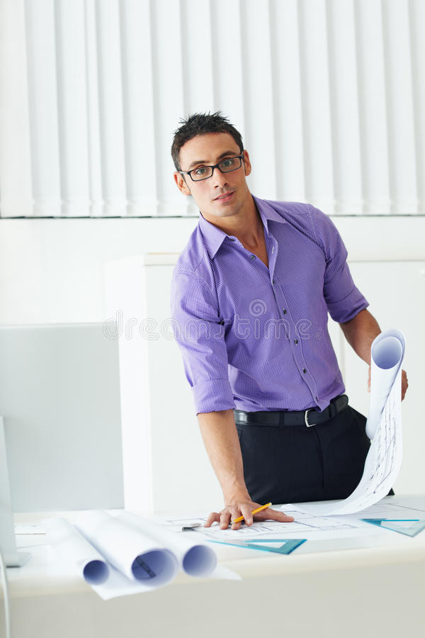 Download Architect stock photo. Image of confidence, happy, blueprint - 10120530