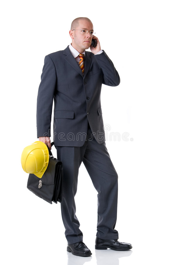 The architect. Young and successful architect. Full isolated studio picture royalty free stock photos