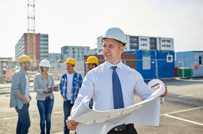 Architect with blueprint on construction site stock photo image download architect with blueprint on construction site stock photo image 57860403 malvernweather Gallery