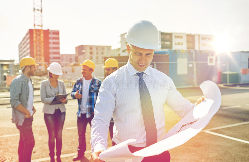 Architect with blueprint on construction site stock photo image download architect with blueprint on construction site stock photo image 82134047 malvernweather Gallery