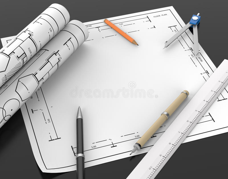 Architect blueprint and stationary tool background with clipping download architect blueprint and stationary tool background with clipping stock illustration illustration of path malvernweather Gallery