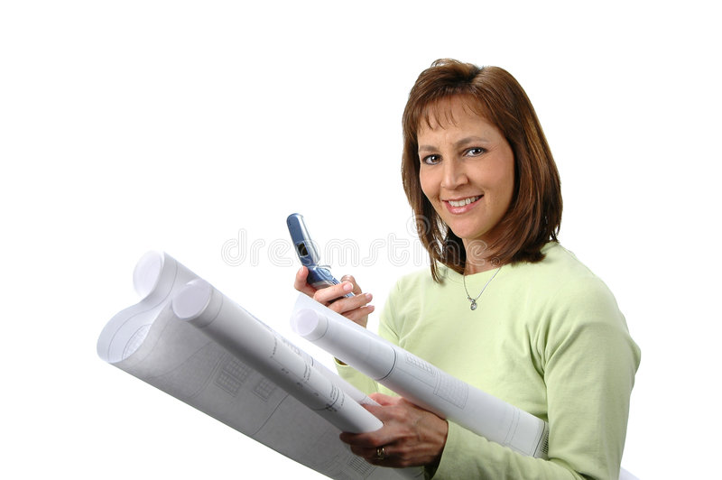 Architect with blueprints royalty free stock image