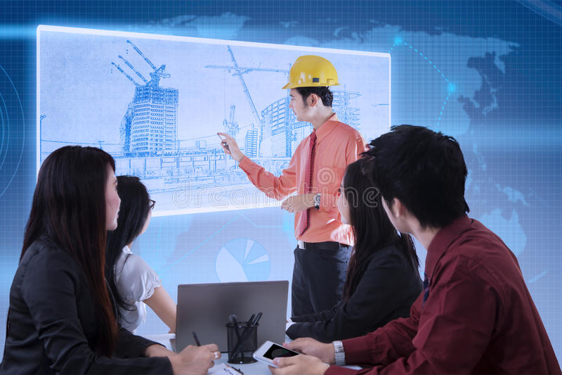 Architect building presentation on blue digital