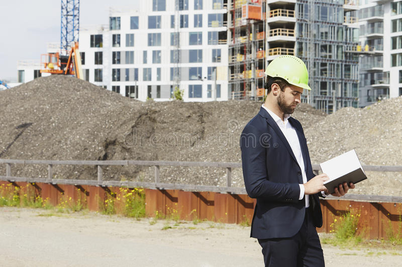 Architect on building site stock photo