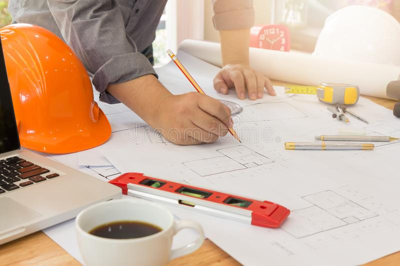 Architects office working with blueprints stock photo