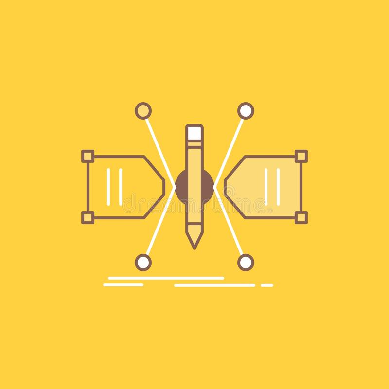 Architect, constructing, grid, sketch, structure Flat Line Filled Icon. Beautiful Logo button over yellow background for UI and UX royalty free illustration