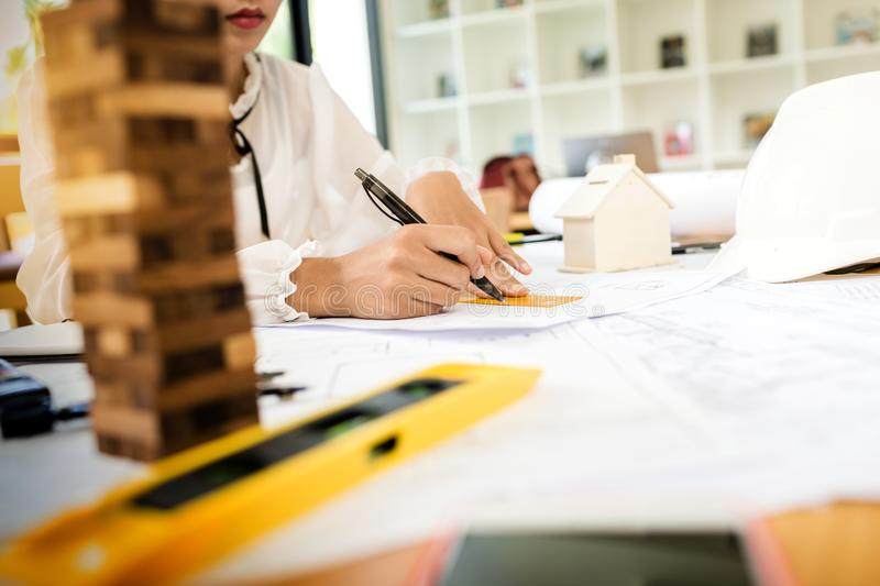 Architect construction engineer on hard project. stock photography