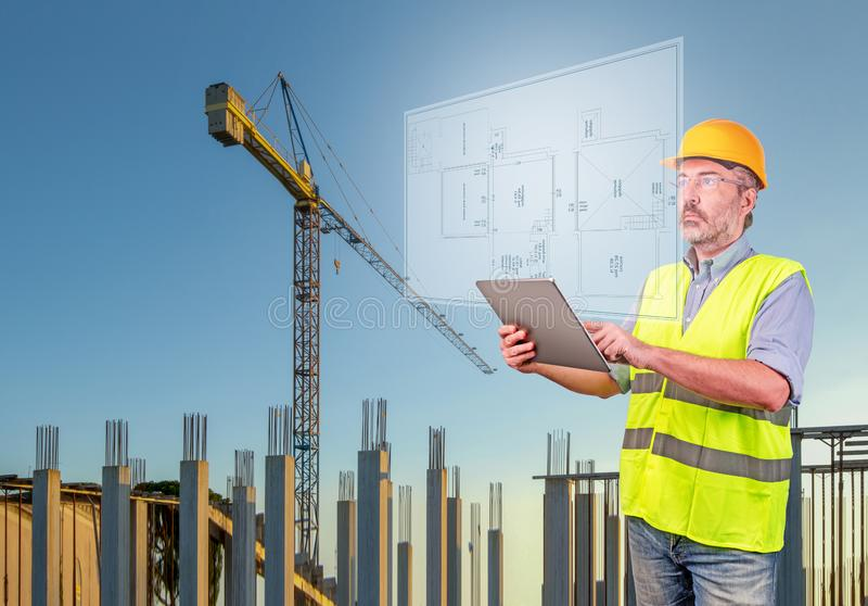 Architect in a construction site stock photo