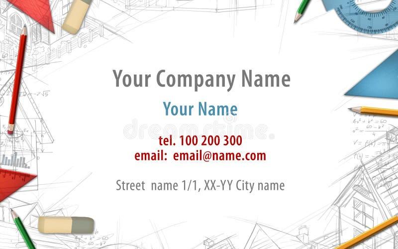 Architect constructor designer builder business card background royalty free illustration
