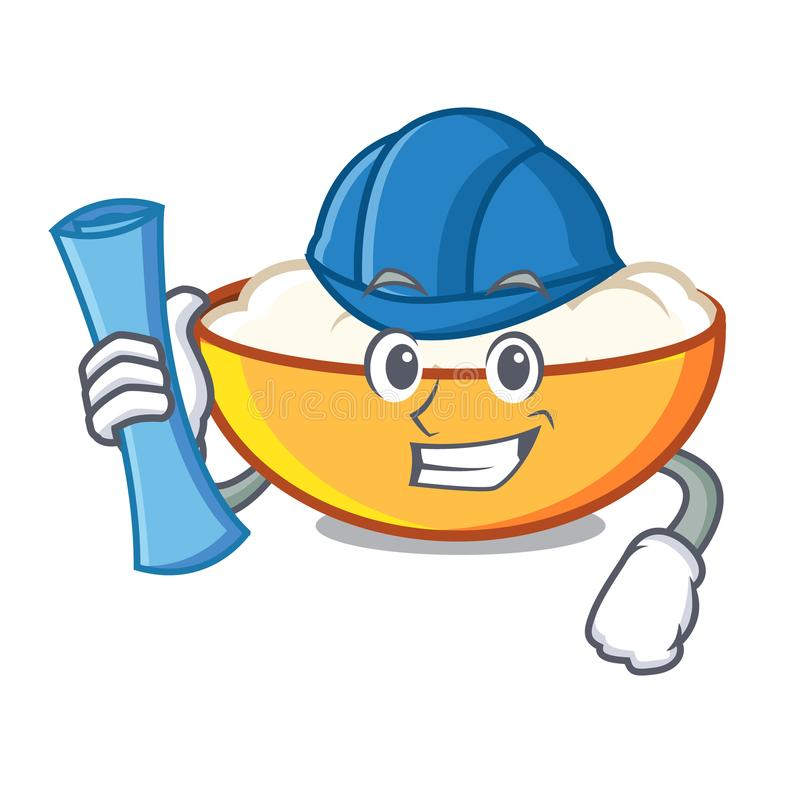 Architect cottage cheese character cartoon. Vector illustration royalty free illustration