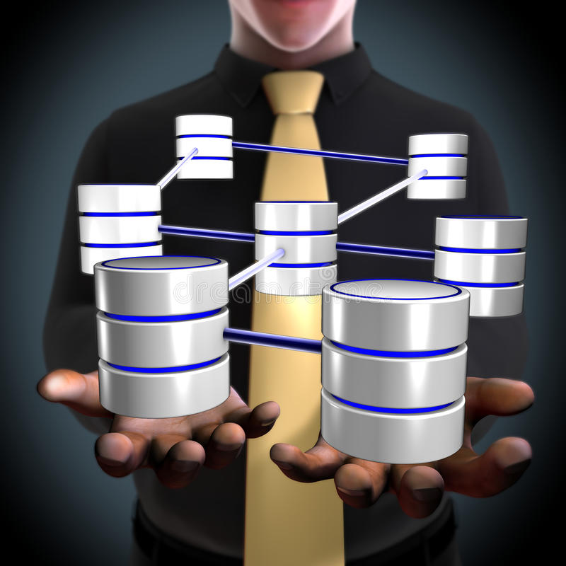 An architect creating a database network vector illustration