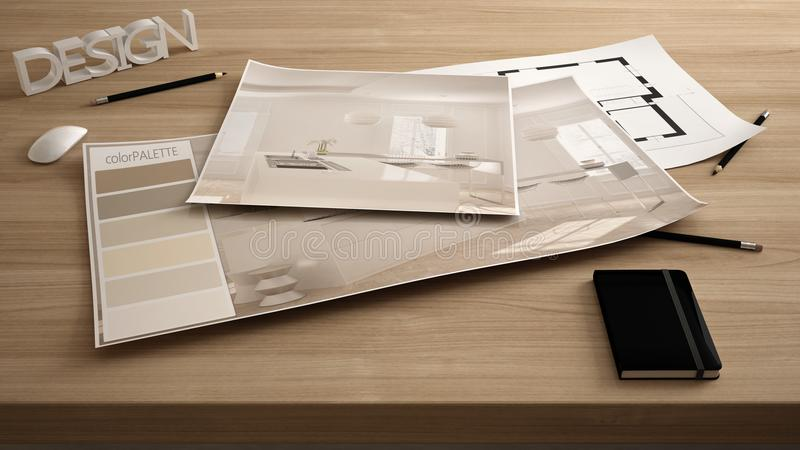 Architect designer concept, table close up with interior renovation draft, plan and color palette, project idea background, modern. Wooden kitchen royalty free stock images