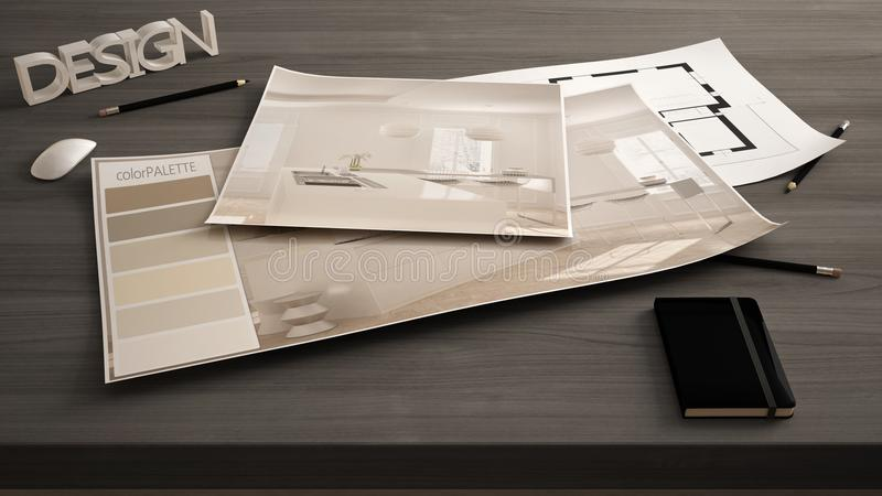 Architect designer concept, table close up with interior renovation draft, plan and color palette, project idea background, modern. Wooden kitchen royalty free stock photos