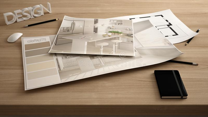 Architect designer concept, table close up with interior renovation draft, plan and color palette, project idea background, modern. Wooden kitchen stock images