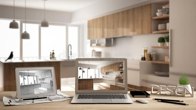 Architect designer desktop concept, laptop and tablet on wooden work desk with screen showing interior design project and CAD sket. Ch, blurred draft in the vector illustration